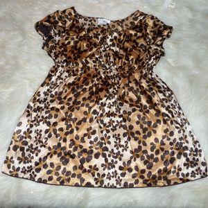 236 IZ Leopard Print Babydoll Top